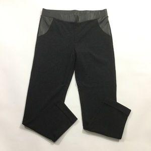 Hue Leggings Black Faux Leather Trim Pants Strech